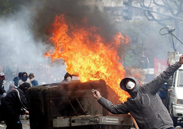 Protestas en el Congreso en Argentina