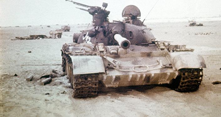 Un tanque destruido durante la guerra de Yom Kipur