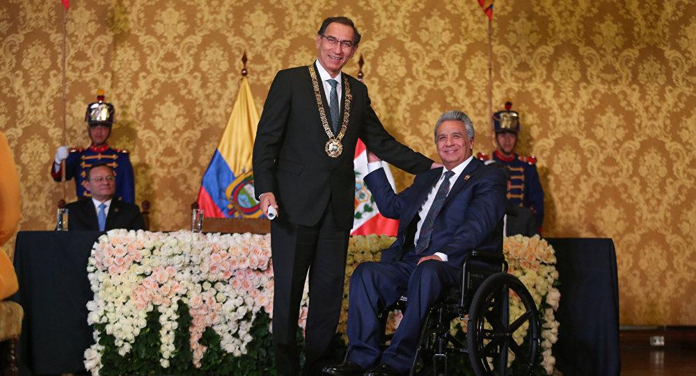 El presidente de Ecuador, Lenín Moreno y el presidente de Perú, Martín Vizcarra