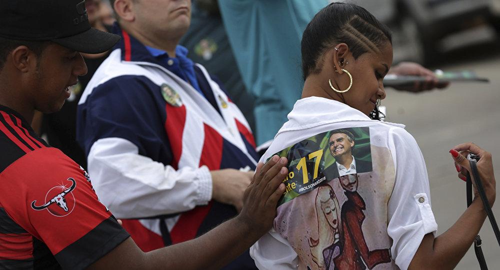 Seguidores del candidato presidencial brasileño Jair Bolsonaro