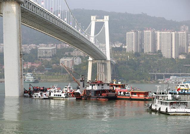 Equipos de rescate en el río de Yangtsé