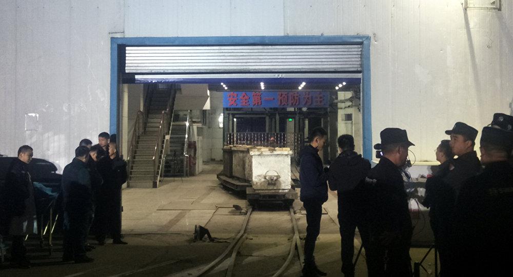 Entrada a la mina de carbón en la provincia oriental china de Shandong tras el accidente