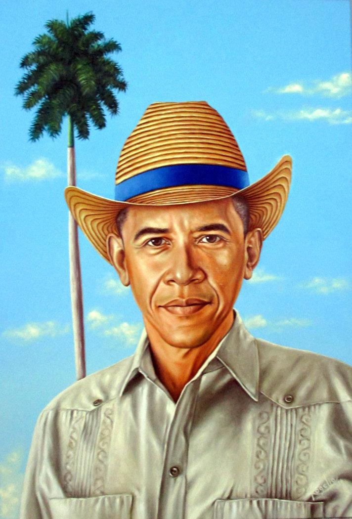 El cuadro de Obama pintado por Rogelio Fundora