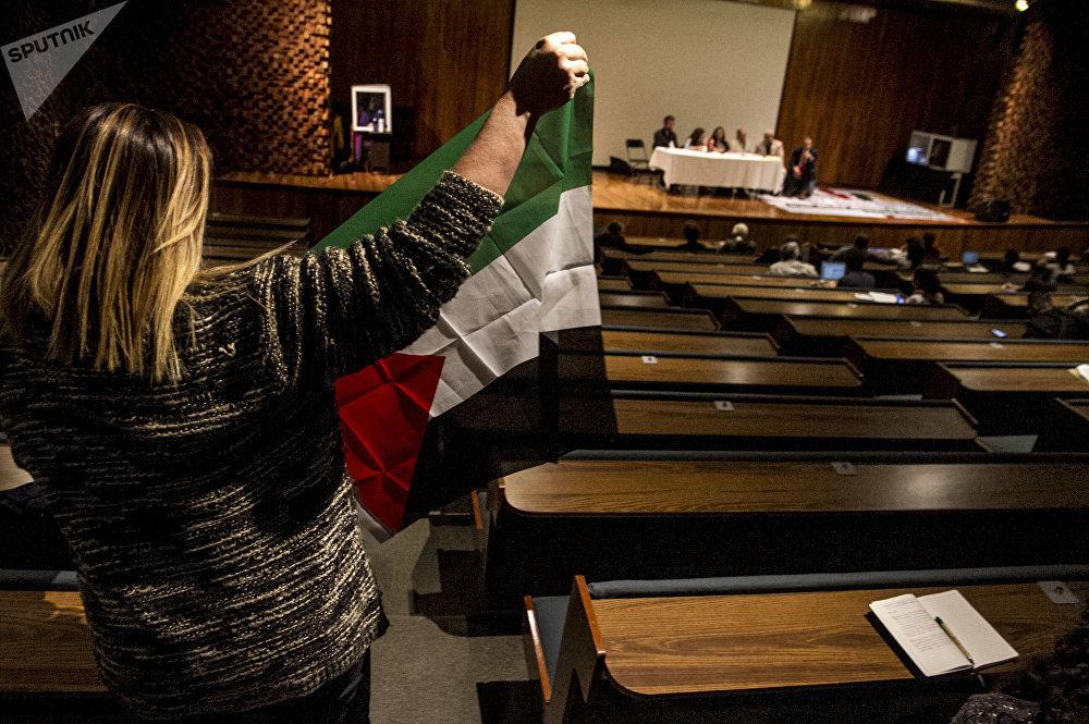 Mujer levanta la bandera de Palestina para hablar sobre los muros que golpean en ese país y en el mexicano.