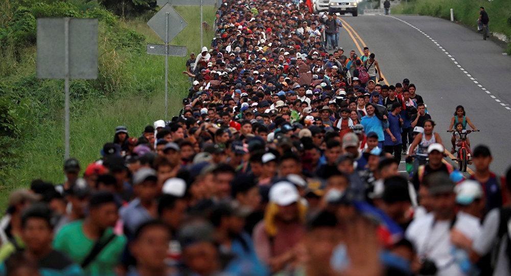 Parte de la caravana de migrantes centroamericanos en México