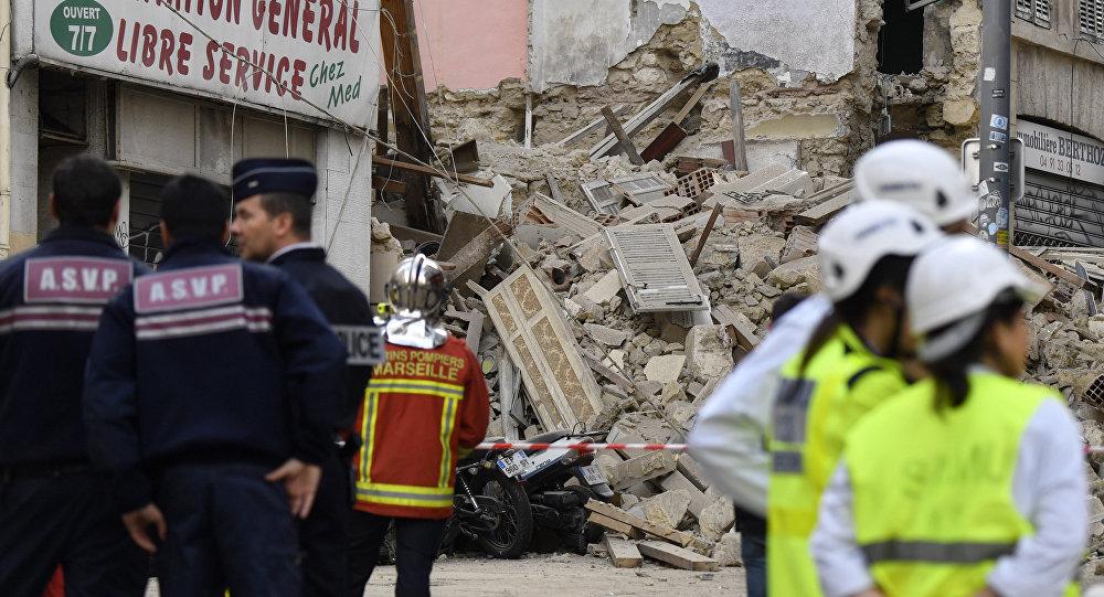 Derrumbe de viviendas en Marsella, Francia