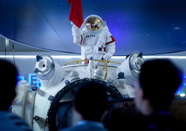 Maqueta del 'Palacio Celestial', la estación espacial habitable china, expuesta en Airshow China-2018