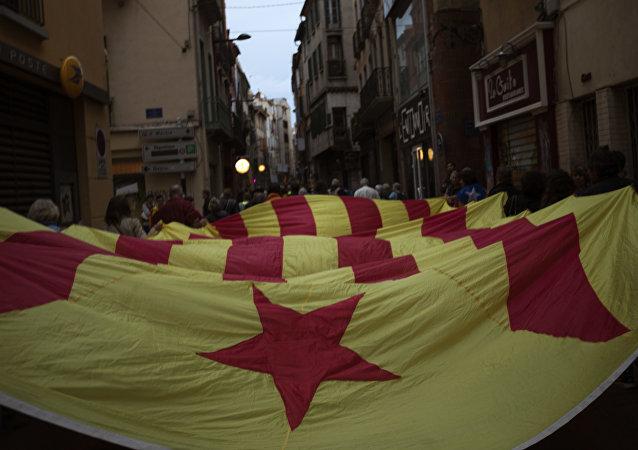 Manifestación del independentismo catalán en la ciudad francesa de Perpiñán