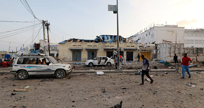 Lugar de la explosión Mogadiscio, Somalia