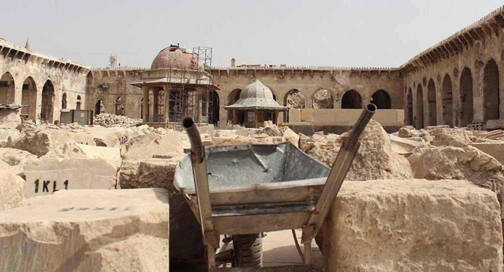 La Gran Mezquita de Alepo, del siglo VIII, destruida durante la guerra civil en Siria