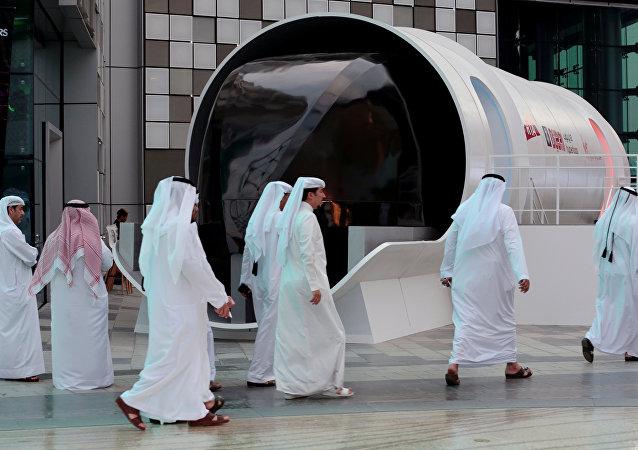 El prototipo de la cápsula de Hyperloop en Dubái (archivo)