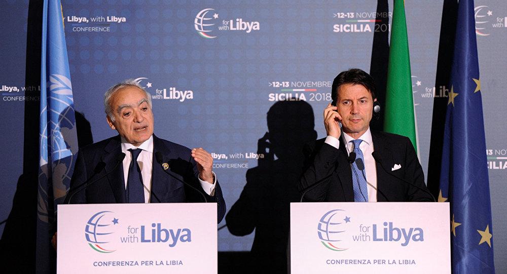 El enviado especial de la ONU para Libia, Ghassan Salamé, y el el primer ministro de Italia, Giuseppe Conte