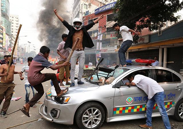 Protestas del Partido Nacionalista de Bangladés en Dacca