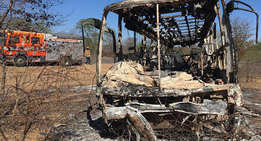 El autobús tras incendio