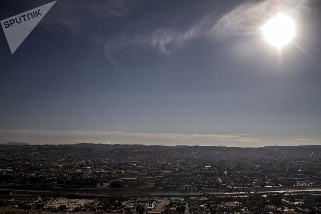 Vista panorámica de la ciudad tras la llegada de la primera caravana migrante del éxodo centroamericano