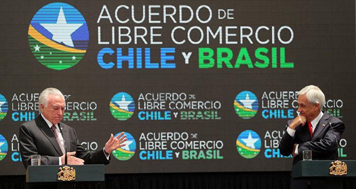 Michel Temer, presidente de Brasil y su homólogo de Chile Sebastián Piñera