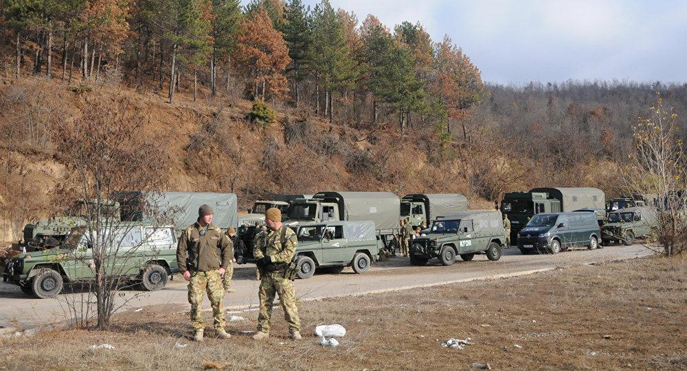 El grupo de operaciones especiales de Kosovo en la región de Mitrovica