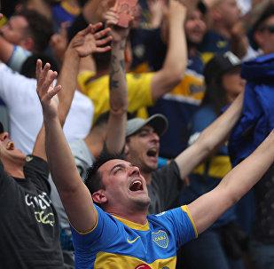 Hinchas de Boca en la primera fase de la final de la Copa Libertadores