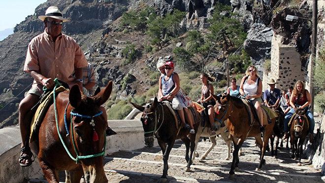Emprendedor de la isla de Santorini saca a sus burros y caballos temprano en la mañana para atender a los turistas