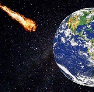 Un asteroide vuela hacia la Tierra (ilustración)