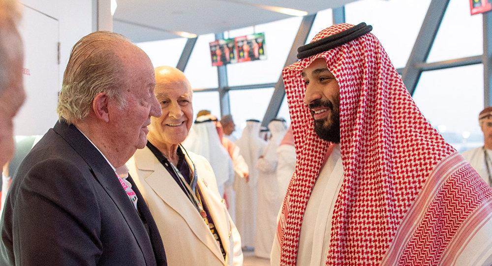 El Rey emérito de España Juan Carlos I y el príncipe heredero saudí, Mohamed bin Salmán
