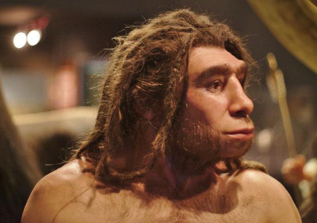 Un homo neanderthalensis en el museo de Munster (Alemania)