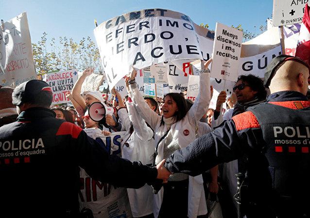 Protestas en Cataluña contra la precariedad en los servicios públicos