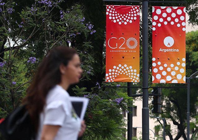 El logo del G20 en Argentina