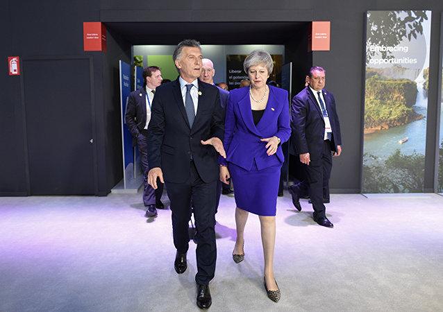 Mauricio Macri y Theresa May durante la cumbre del G20 en Buenos Aires