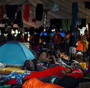 Migrantes centroamericanos en Tijuana