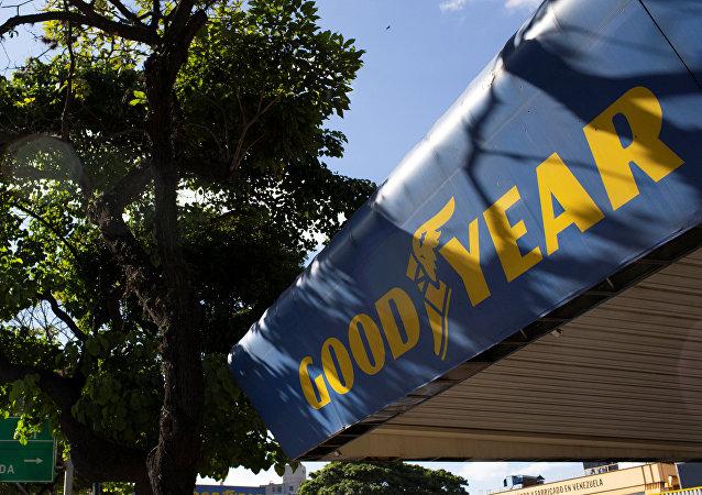Logo de la empresa estadounidense Goodyear en Caracas, Venezuela