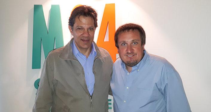 Fernando Haddad(iz) y Fabián Cardozo