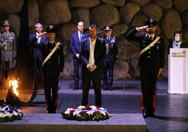 Matteo Salvini, viceprimer ministro de Italia, durante su visita a Jerusalén, Israel