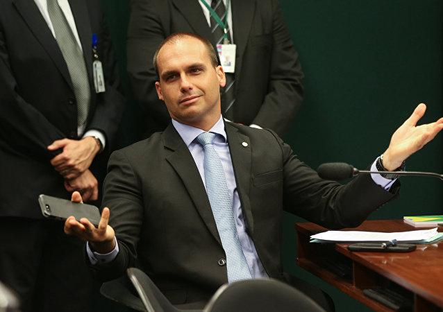 El diputado federal Eduardo Bolsonaro, hijo del presidente de Brasil Jair Bolsonaro