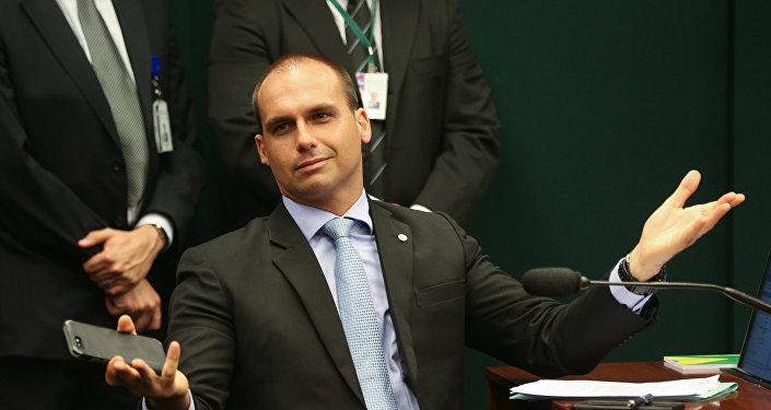 El diputado federal Eduardo Bolsonaro, hijo del presidente electo de Brasil Jair Bolsonaro