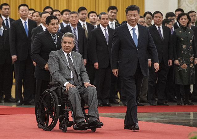 El presidente de Ecuador, Lenín Moreno, y el presidente de China, Xi Jinping