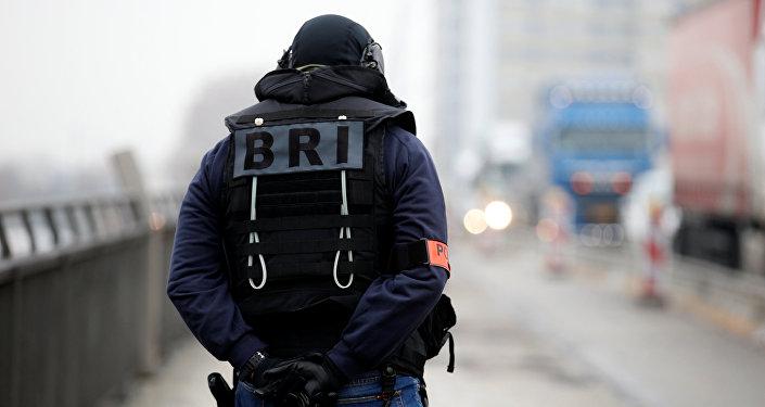 El patrullaje de la policia francesa especial en la frontera franco-alemana