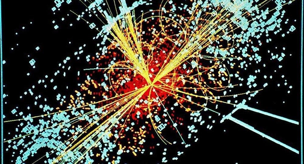 Un ejemplo de simulación a partir de los datos de la desintegración de dos protones de muy alta energía generando un Bosón de Higgs en el decaimiento en dos haces de hadrones y dos electrones en el detector CMS del LHC en el CERN.