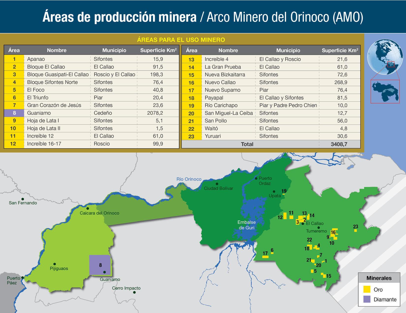 El mapa de producción de oro y diamantes