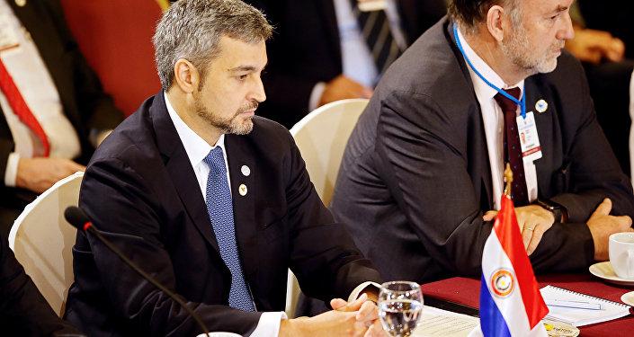 Mario Abdo Benítez, presidente de Paraguay en la cumbre de Mercosur en Montevideo, Uruguay