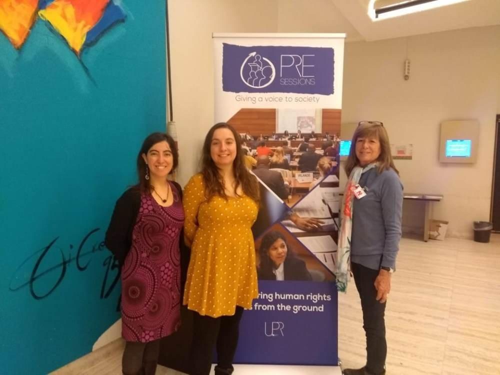 Alejandra Donoso, Cristina Lux y Katta Alonso durante la presesión 32 del tercer ciclo del Exámen Periódico Universal de la Organización de las Naciones Unidas en Ginebra