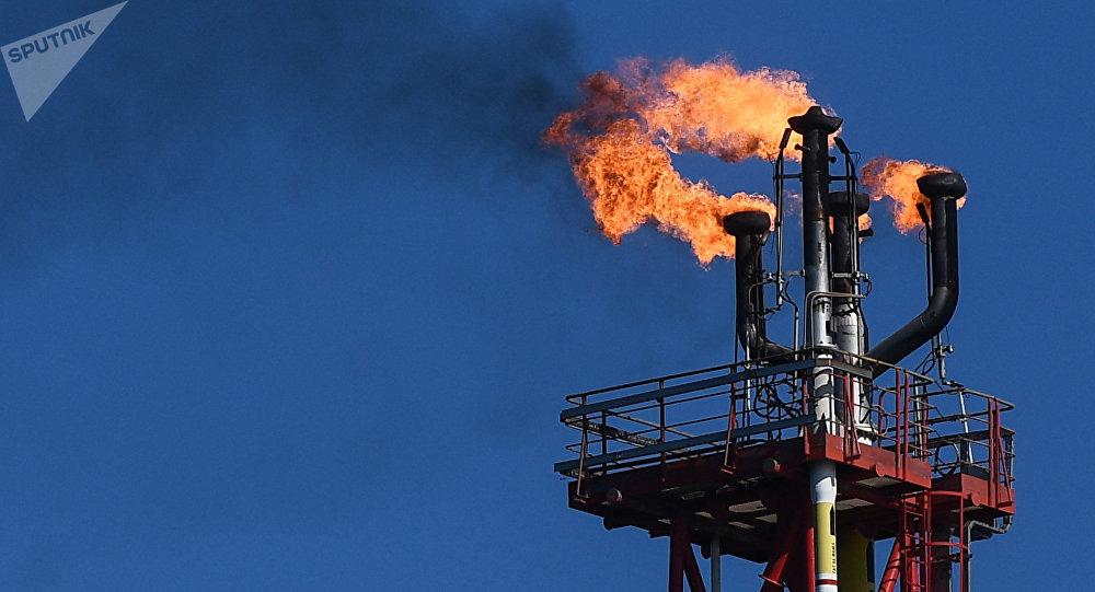 Una refinería de petróleo en Rusia