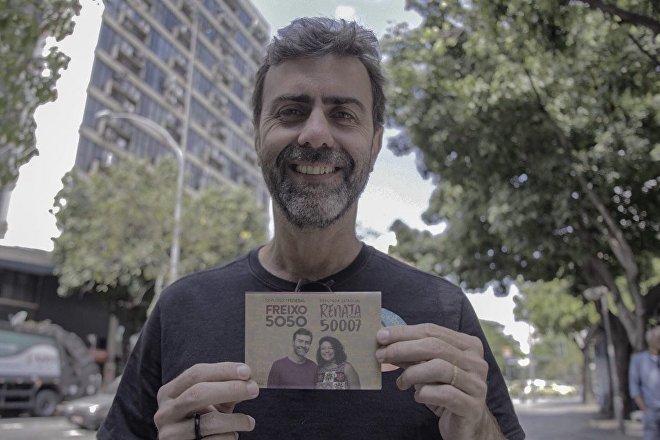 Marcelo Freixo, legislador estatal de Río de Janeiro, en su campaña a la Cámara de Diputados de Brasil en 2018