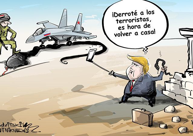 Historietas de cómo Trump derrotó a ISIS en Siria