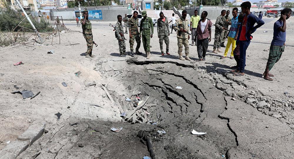 Lugar de la esxplosión en Mogadiscio, Somalia