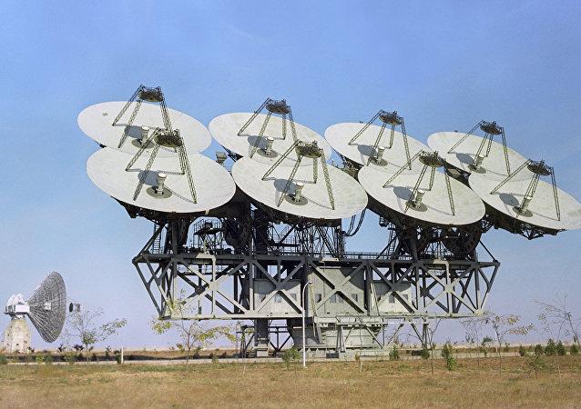 El radiotelescopio soviético en el centro de comunicaciones espaciales Plutón