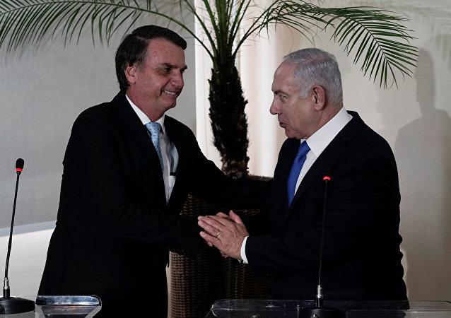 Jair Bolsonaro, presidente electo de Brasil, y Benjamín Netanyahu, primer ministro israelí
