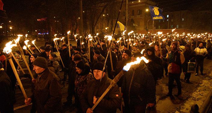 La marcha con motivo del 110 aniversario del nacimiento del nacionalista ucraniano Stepán Bandera