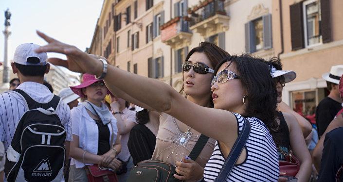 Dos turistas japonesas en Roma