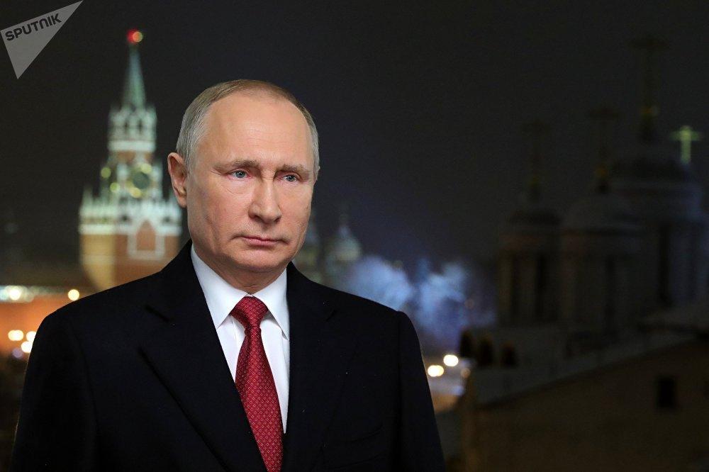 El presidente de Rusia, Vladímir Putin, durante su discurso de Año Nuevo